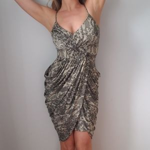 Snake Skin Print Costa Blanca Drape Dress XS